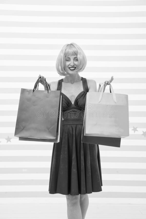 Fashion. Black Friday sales. happy woman go shopping. Crazy girl with shopping bags. Happy shopping online. Happy. Holidays. Last preparations. big sale in royalty free stock photography