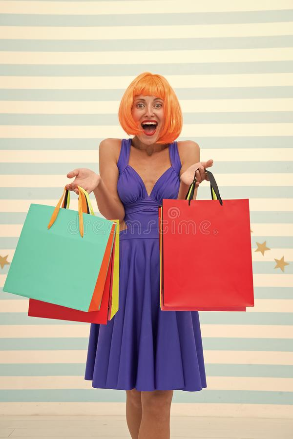 Fashion. Black Friday sales. happy woman go shopping. Happy shopping online. Happy holidays. Crazy girl with shopping royalty free stock photos