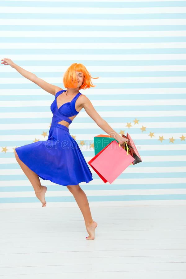 Fashion. Black Friday sales. happy woman go shopping. Last preparations. big sale in shopping mall. Crazy girl with shop stock image