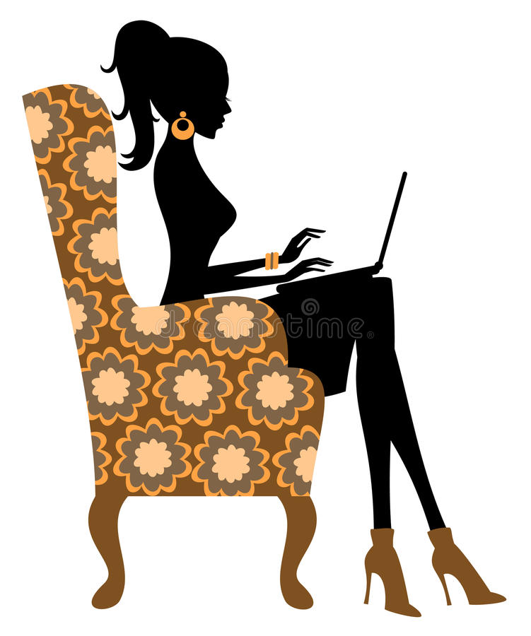 Fashion Blogger. Young fashionable woman working on laptop