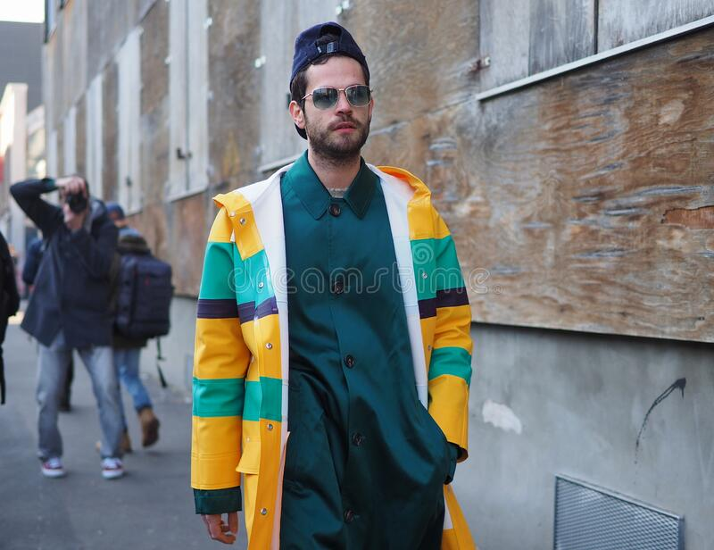 MILAN, Italy: 12 January 2020:  Fashion blogger street style outfit stock images