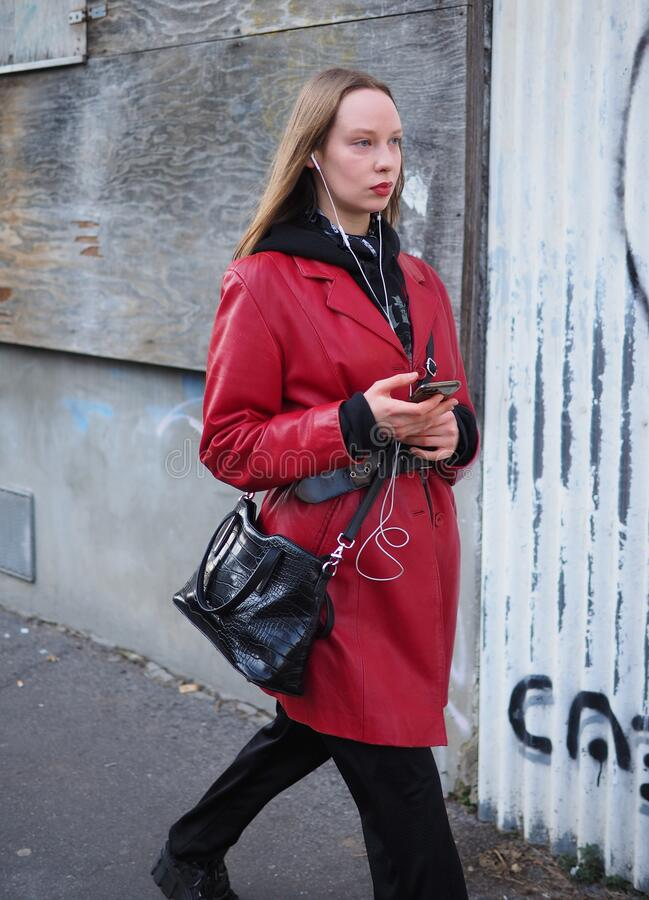 MILAN, Italy: 12 January 2020:  Fashion blogger street style outfit stock image