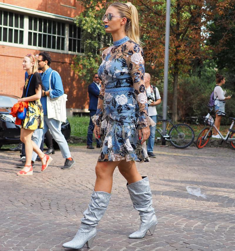 MILAN, Italy: September 22, 2018:Fashion blogger street style outfit. Fashion blogger street style outfit before Philosophy di Lorenzo Serafini fashion show stock photo