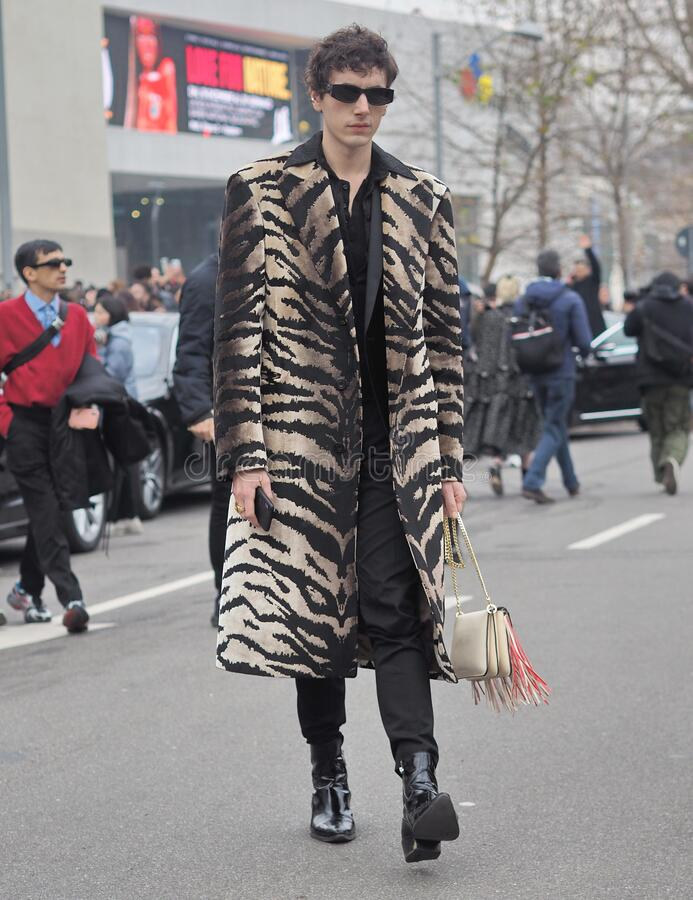 MILAN, Italy: 14 January 2020:  Fashion blogger street style outfit stock images
