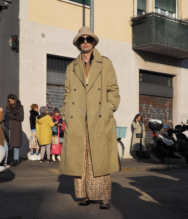 MILAN, Italy: 12 January 2020:  Fashion blogger street style outfit stock photo
