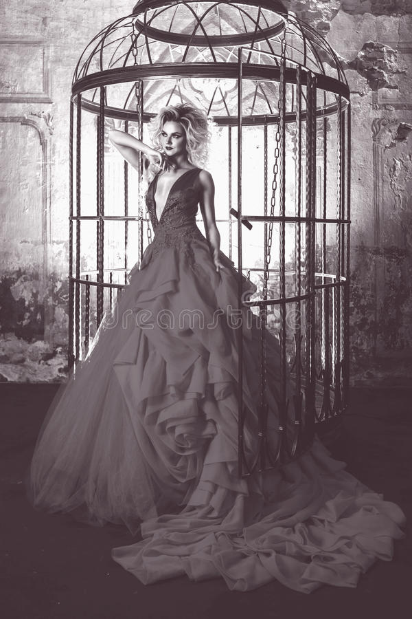Fashion blonde in dress with fluffy skirt near the birdcage, concept of liberation. Toning grey stock photography