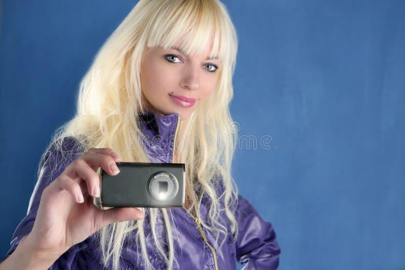 Fashion blonde girl photo camera mobile phone