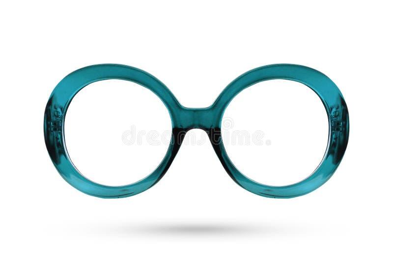 Fashion blue glasses style plastic-framed isolated on white back royalty free stock photography