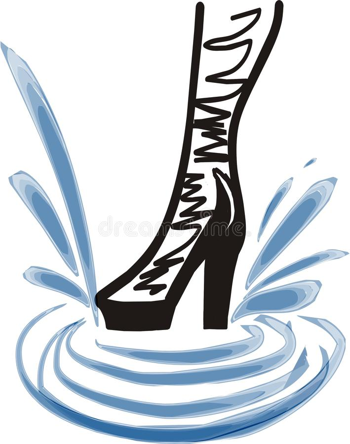Fashion Boot Of A Girl In Splashes Royalty Free Stock Photography