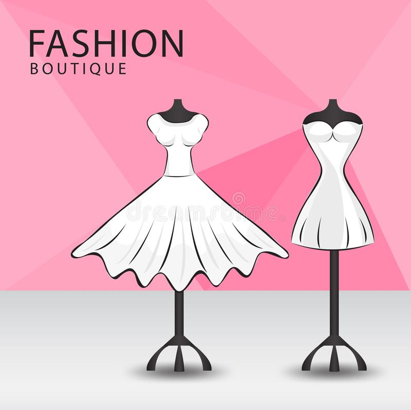 Fashion boutique facade, Clothes shop, women fashion royalty free illustration