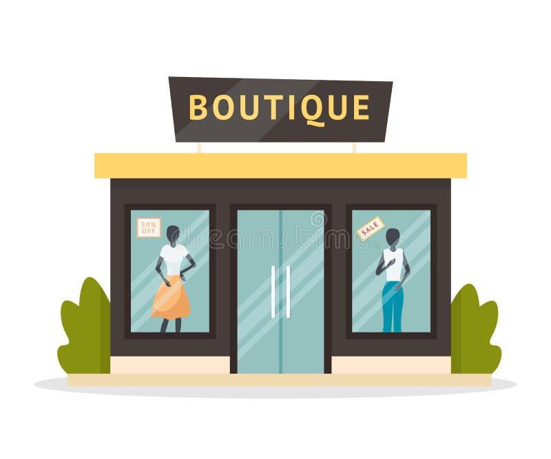 Fashion boutique facade platt illustration vektor illustrationer