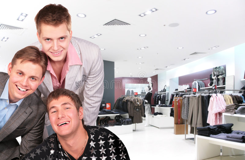 Fashion boys upper clothes shop royalty free stock image