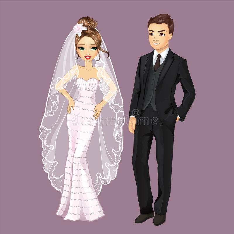 Fashion Bride And Groom stock illustration