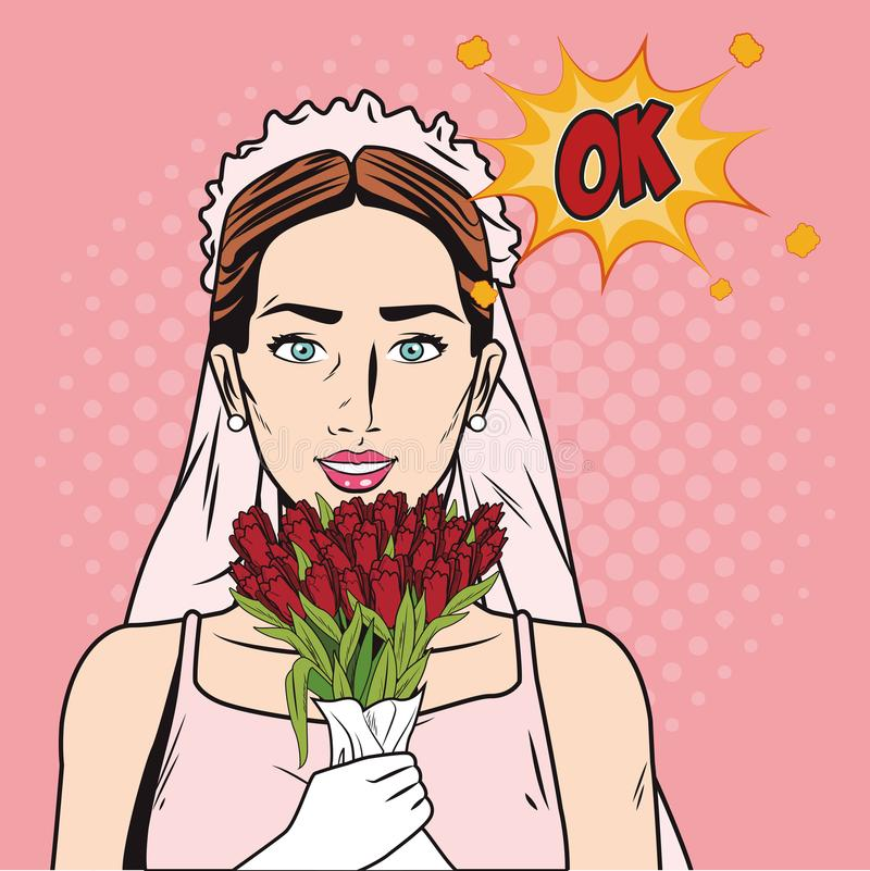 Fashion bride pop art cartoon. Fashion bride rt cartoon pop art vector illustration graphic design stock illustration