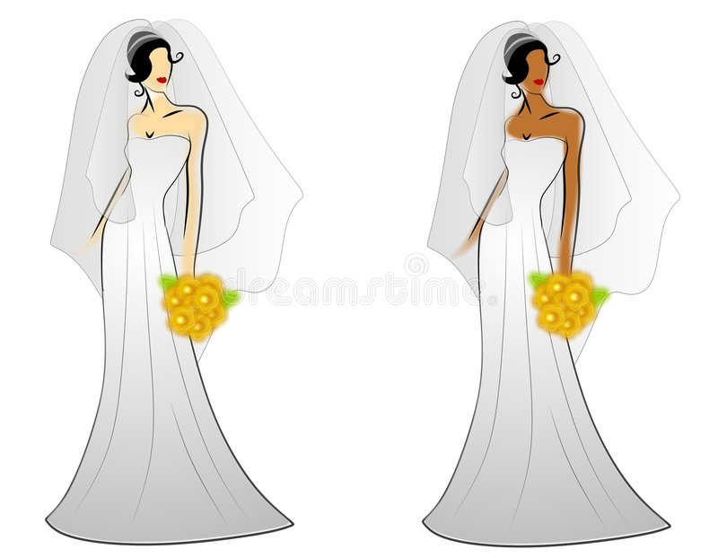 Fashion Bride Wedding Gowns. A clip art illustration featuring 2 women - caucasian and african american - wearing long white wedding dresses with veils and stock illustration