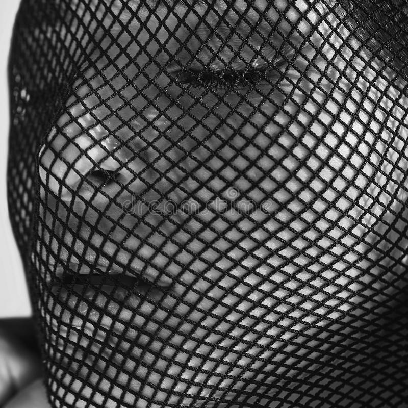 Beautiful sensual woman in a black veil on her face. stock image