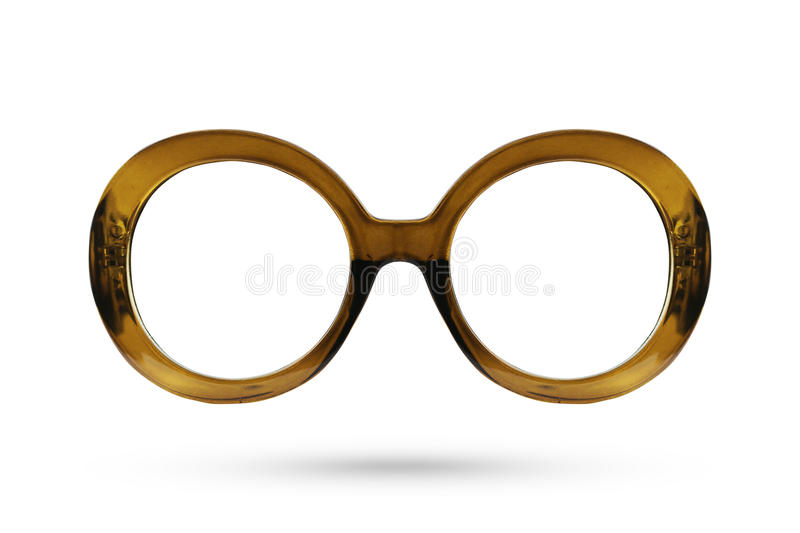 Fashion brown glasses style plastic-framed on white background. stock photography