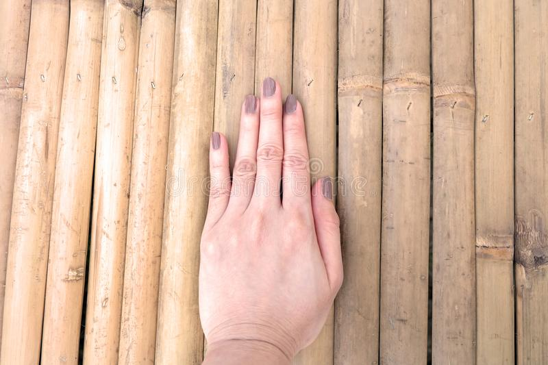 Fashion Brown Manicure Nail. Female's Hand Nails Polish on the Wood Background. Great for Any Use royalty free stock photography