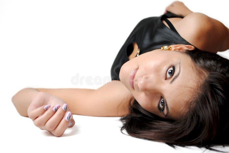 Fashion Brunette Isolated stock image