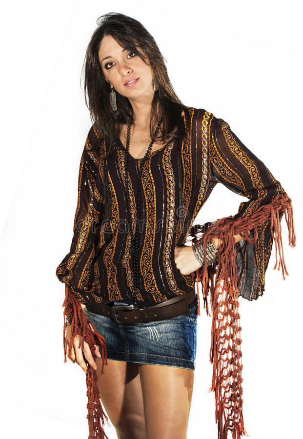 Fashion brunette model woman Italian style on white royalty free stock photos