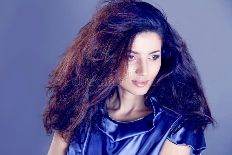 Download Fashion Brunette Over Blue . Beautiful Makeup Stock Image - Image: 25065547