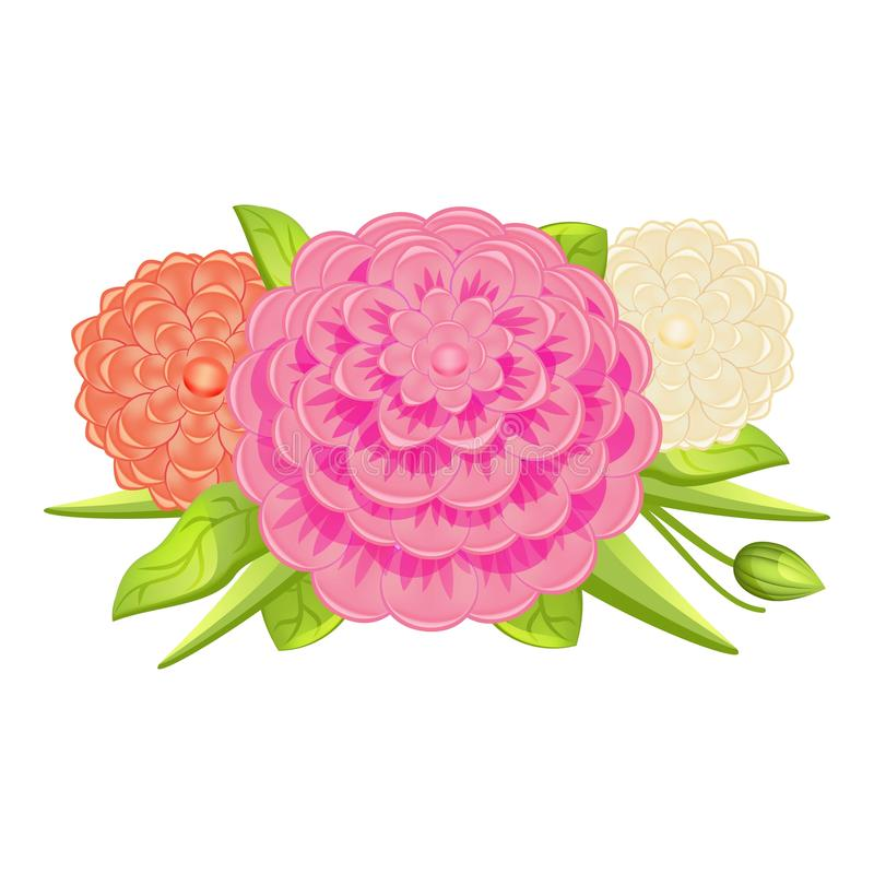 Fashion camellia bouquet icon, cartoon style. Fashion camellia bouquet icon. Cartoon of fashion camellia bouquet vector icon for web design isolated on white vector illustration