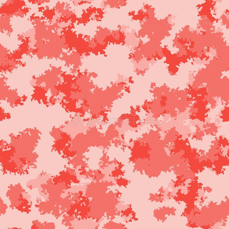 Fashion camo surface design. Living coral marble trendy camouflage salmon red pink fabric pattern stock illustration