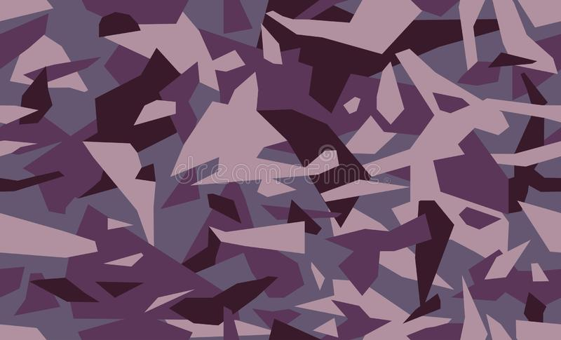 Fashion camouflage seamless background. Trendy geometric camo pattern in purple and burgundy. Clothing female style, repeat print. Design element for fabric or royalty free illustration