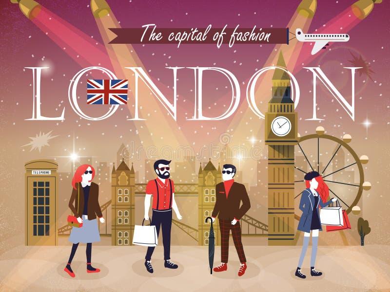 Fashion capital London stock illustration