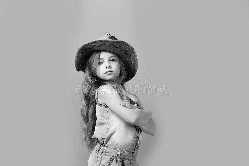 Fashion and casual style concept. Little lady in stylish clothes royalty free stock photography