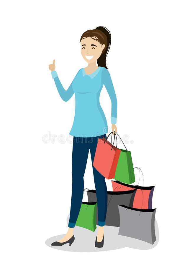 Fashion caucasian female with shopping bags,big sale concept. Isolated on white background,cartoon vector illustration vector illustration