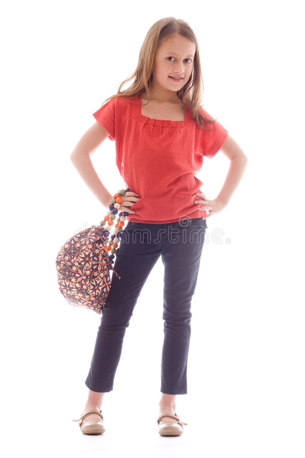 Fashion child is cool. Young brunette child posing in different clothes stock photos