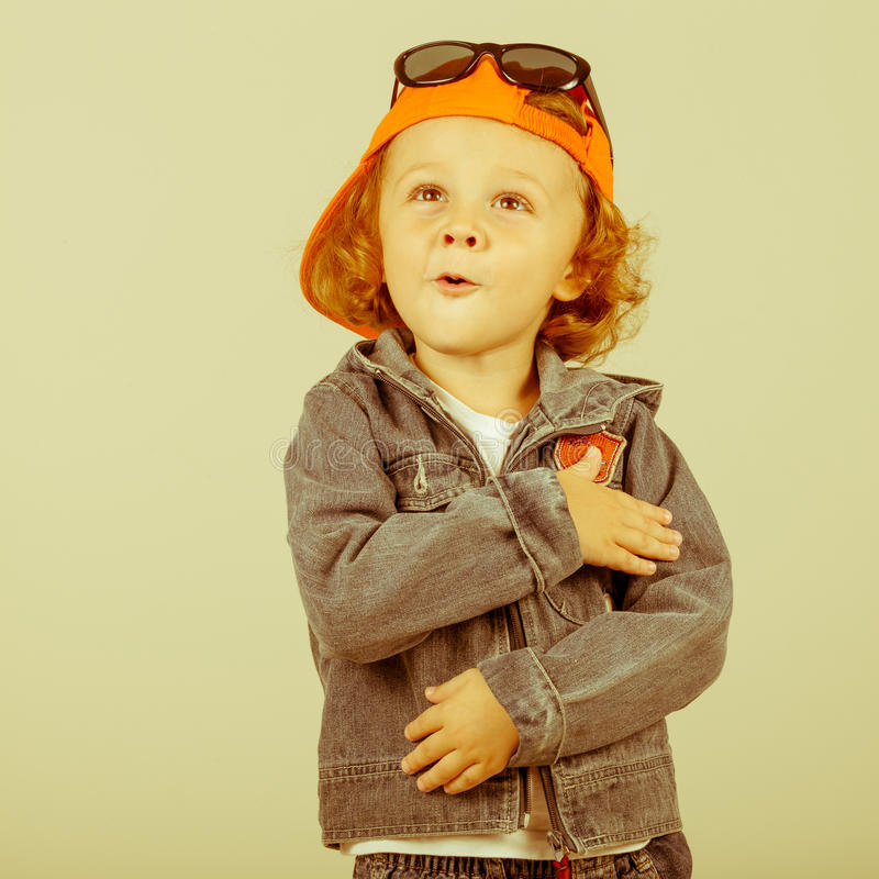 Fashion child. Happy boy model royalty free stock photo