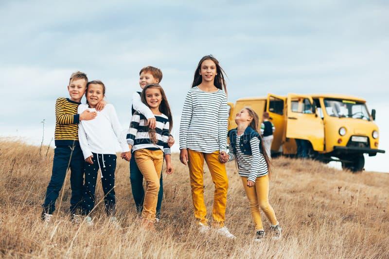 Fashion children in autumn field stock photography