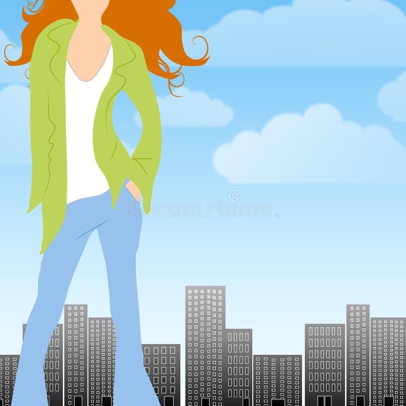 Fashion City Caucasian Woman royalty free illustration