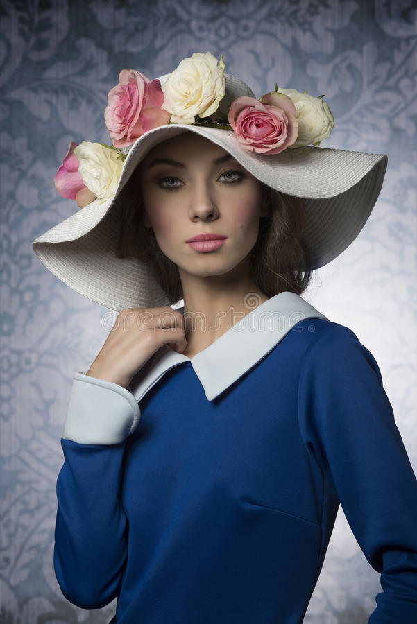 Fashion classic spring girl royalty free stock photography