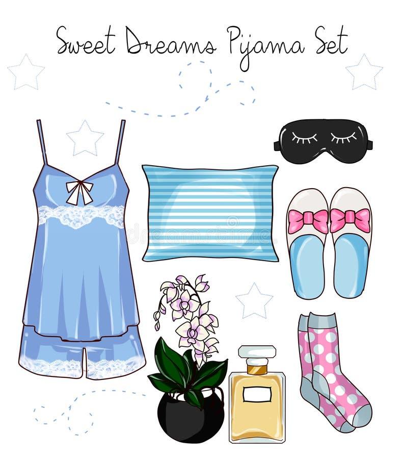 Fashion Clip Art Set - Pajama Collection fashion set. Pajama Collection fashion set clip art royalty free illustration