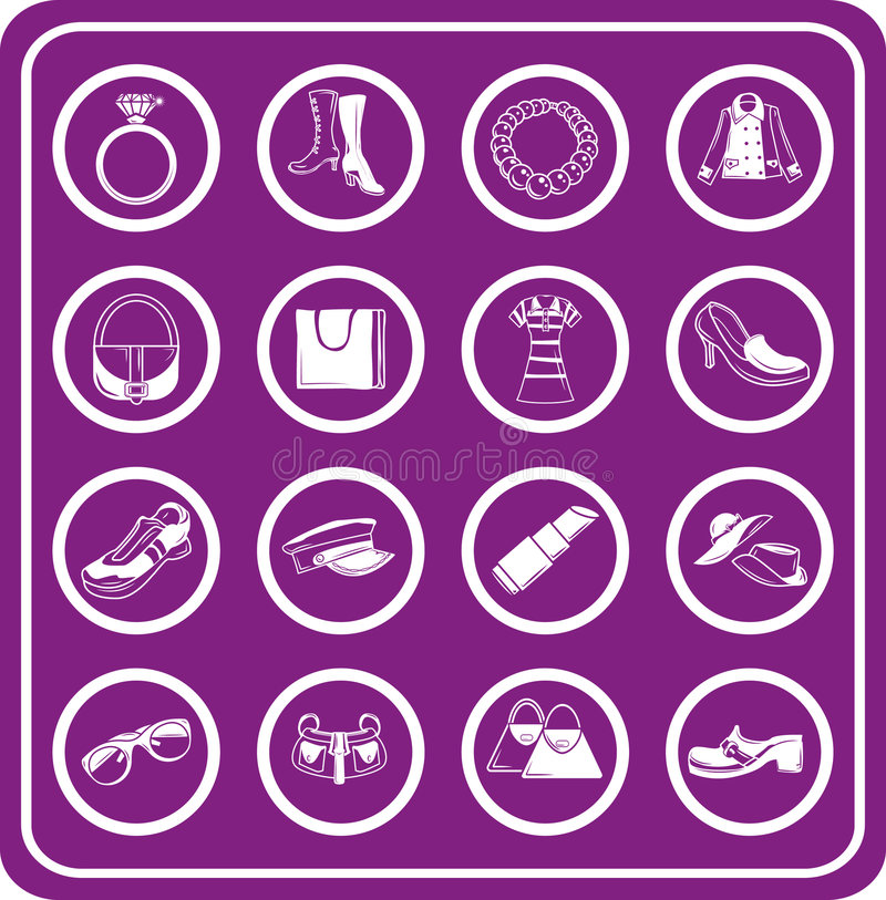 Free Fashion, Clothes And Accessory Icons Stock Image - 895761