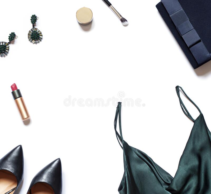 Fashion clothes, cosmetics and accessories concept frame on the white background. stock image