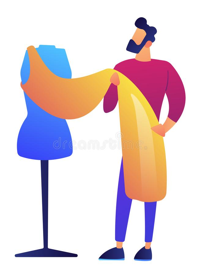 Fashion clothes designer working on dress project vector illustration. stock illustration
