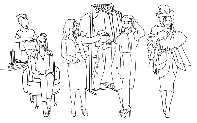 Fashion clothes designer working on dress project create a new style. Stylist advise. Vector sketch stock illustration
