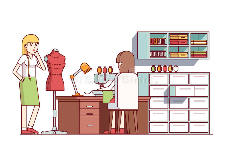 Fashion clothes designers making new dress style. Tailor shop seamstress woman working on sewing machine, sitting at desk. Flat style cartoon vector royalty free illustration