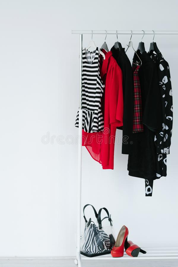 Fashion clothes lookbook stylish apparel accessory. Fashion clothing items prepared for a lookbook creation. selection of trendy stylish apparel and accessories royalty free stock photography