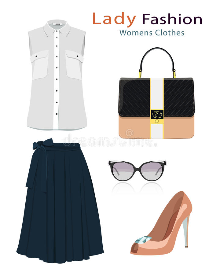 Fashion clothes set with accessories. Realistic colorful detailed woman clothing. Flat style. royalty free illustration