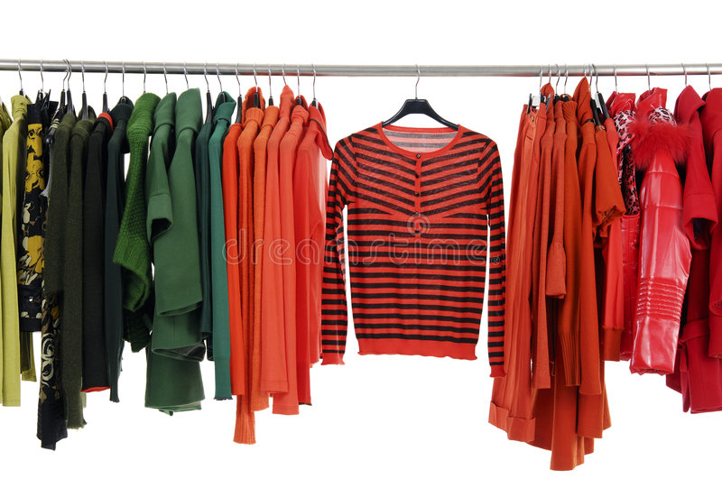 Fashion clothing. Designer fashion clothing hanging as display stock photography