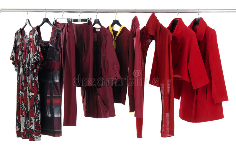 Fashion clothing. Designer fashion clothing hanging as display stock image