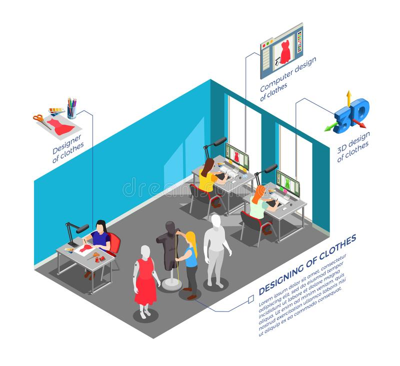 Clothes Factory Designers Isometric Composition. Fashion clothing factory designers workplace with garments models and patterns developers at work isometric stock illustration