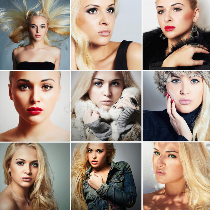 Fashion collage.Group of beautiful young blond women. different style girls.Beauty woman royalty free stock photography