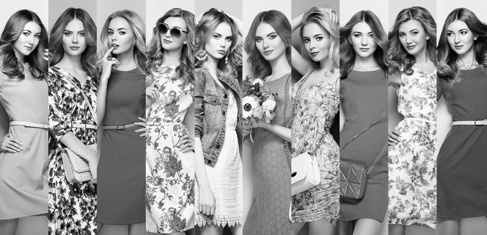 Group of beautiful young women. Fashion Collage. Group of Beautiful Young Women. Blonde Young Woman in Floral Spring Summer Dress. Girl posing. Summer Floral stock image