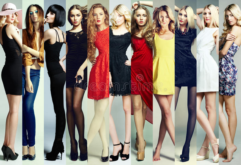 Fashion collage. Group of beautiful young women. Sensual girls stock photography